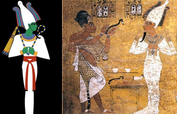 Left, depiction of Egyptian god Osiris. Right, Opening of the Mouth ceremony, Tutankhamun depicted as Osiris