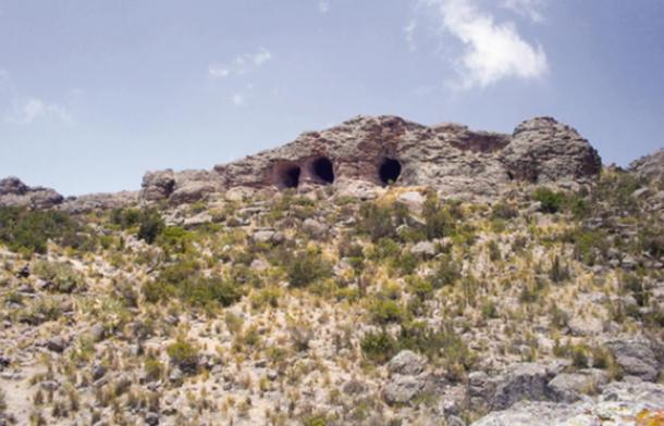 Mouths of the Tres Ventanas cave, which are believed to have been dug in part by ancient mega-sloths.