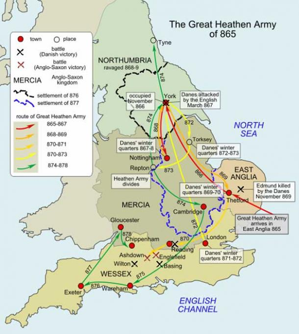 Movements of the Great Heathen Army of 865