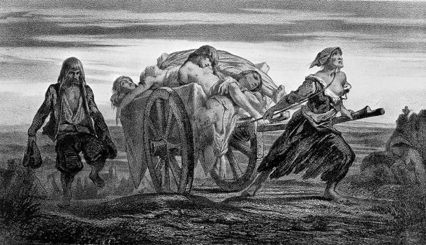 Moynet lithograph of a truck loaded with plague victims. (Wellcome Images / CC BY 4.0)