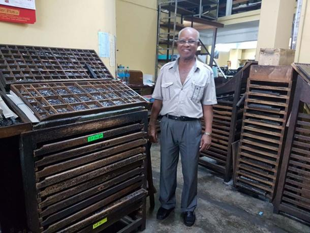 Mr Kadrass, typographer in his old printing press. (Image: Courtesy of the author)