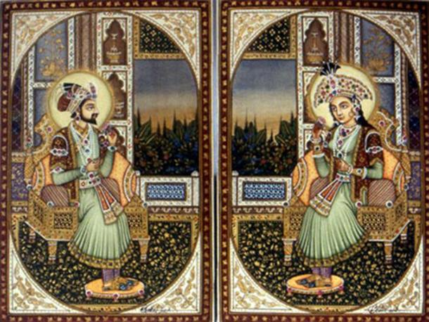 Portraits of the Mughal emperor Shah Jahan, and his favorite wife – empress Mumtaz Mahal.