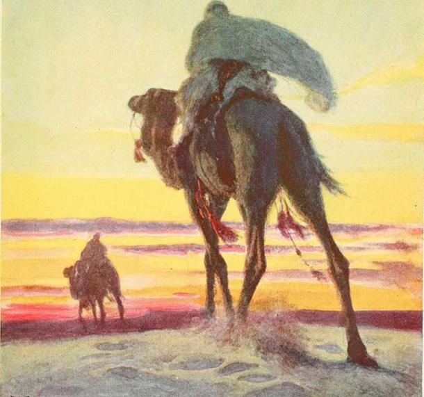 Muhammad and Abu Bakr flee Mecca, as depicted in 'The Outline of History'. (Internet Archive Book Images)
