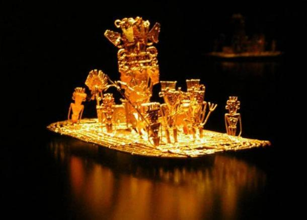Muisca raft, representation of the initiation of the new Zipa in the lake of Guatavita, possible source of the legend of El Dorado. It was found in a cave in Pasca, Colombia in 1856, together with many other gold objects.