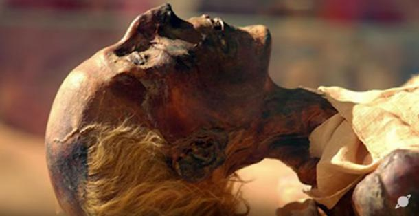 Mummy of 19th dynasty King Rameses II with reddish-blond hair. (YouTube Screenshot)