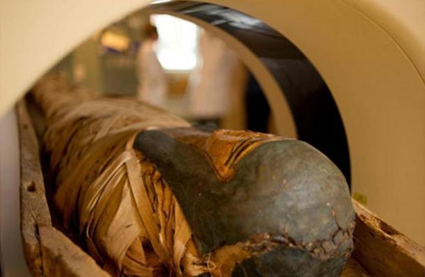 Mummy undergoing CT scanning. Representational image.