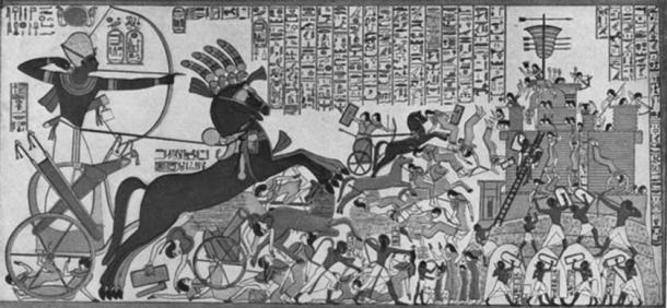 Mural in Ramesses II's temple in Tebes, depicting the Battle of Kadesh (Public Domain)