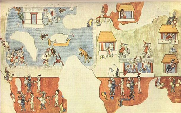 Mural in the Temple of the Warriors, Chichen Itza, Mexico. The image shows light-skinned men as they pack to retreat by sea, while others defend a village or are taken away as prisoners.