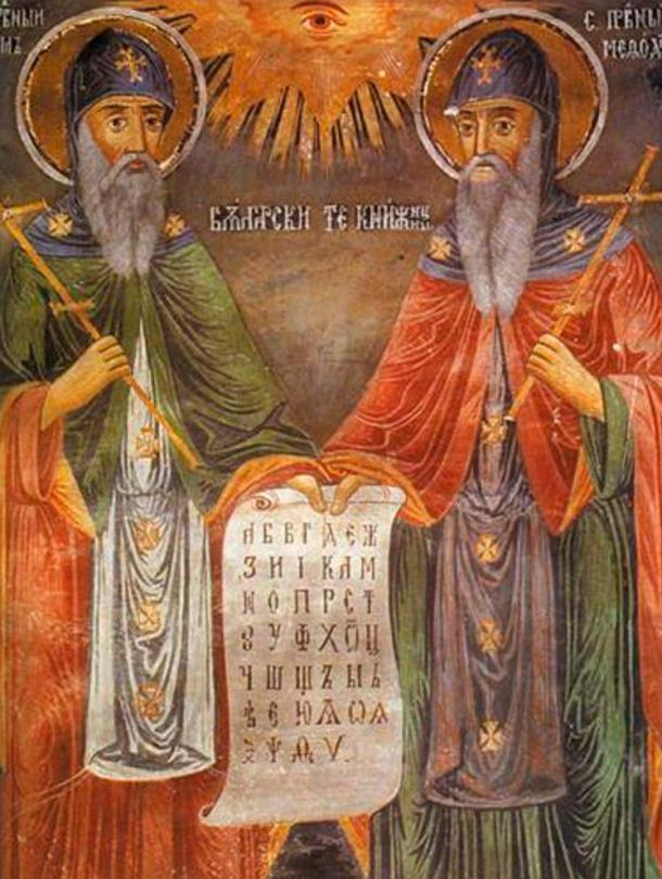 Mural in the Troyan Monastery of Saints Cyril and Methodius.