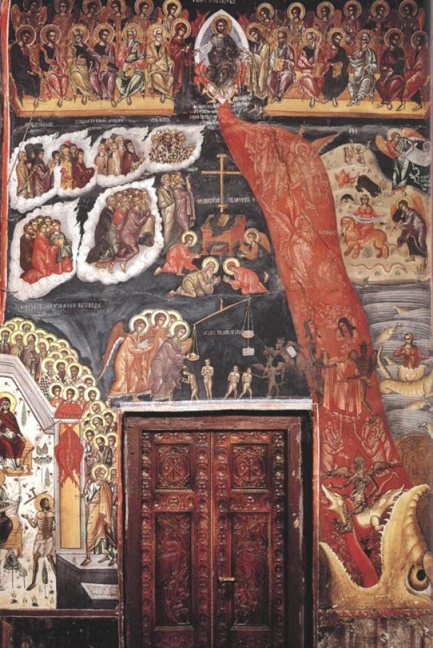 Mural inside the All Saints church, Varlaam monastery, Meteora, Greece