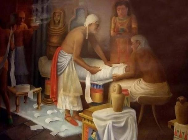 Mural of Egyptian Mummy Preparation at the Rosicrucian Egyptian Museum
