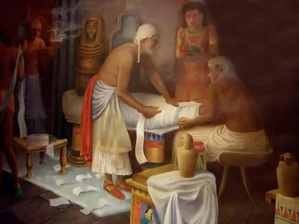 Mural of Egyptian Mummy Preparation at the Rosicrucian Egyptian Museum.