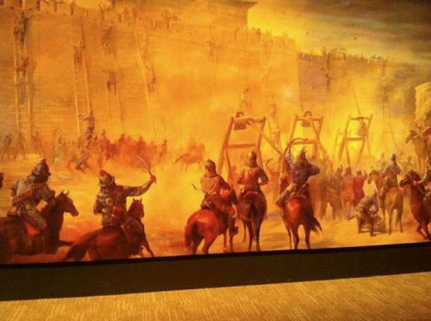 Mural of siege warfare, Genghis Khan Exhibit, Tech Museum San Jose, 2010. (Bill Taroli/CC BY 2.0)