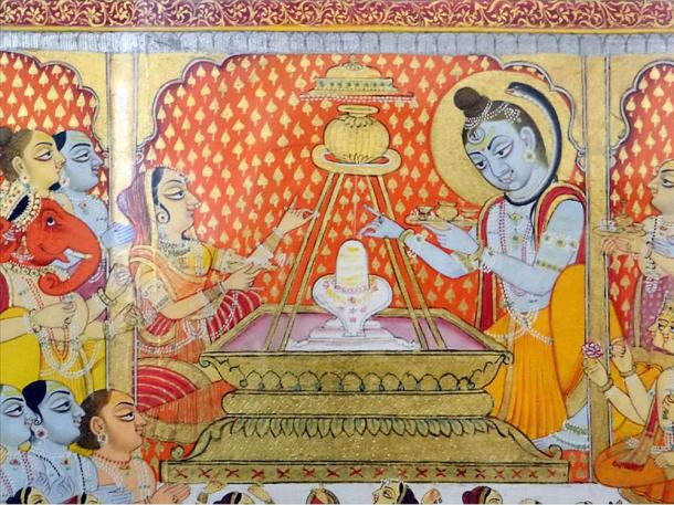 Mural painting depicting Shiva with the Lingam in the Palace of Mehrangarh Fort, Jodhpur.