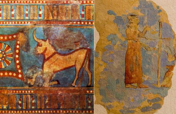 Left: Figurine of the weather god Teisheba, found in 1941 during the excavations at Karmir Blur, in the ruins of the Urartian fortress of Teishebaini. (Public Domain) Right: Figure of the goddess Arubani, wife of Ḫaldi.