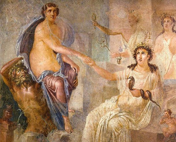 Mural showing Io being welcomed into Egypt by Isis. Roman fresco from the temple of Isis in Pompeii.