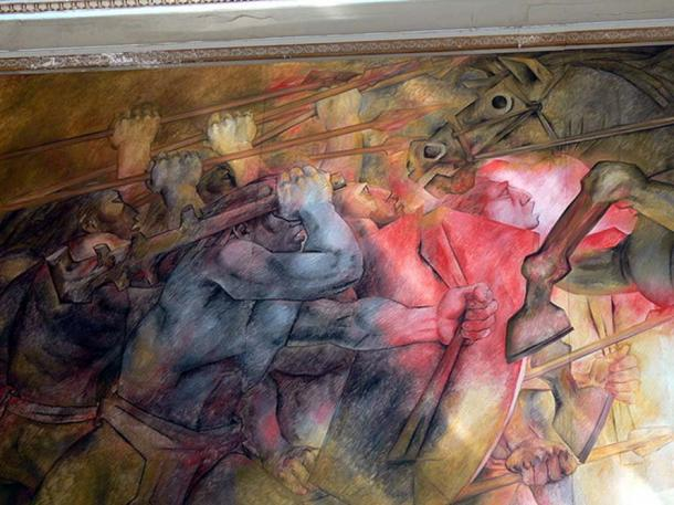 Murals by Fernando Castro Pacheco: Mayan warrior fighting against Spanish conquistadors (detail).