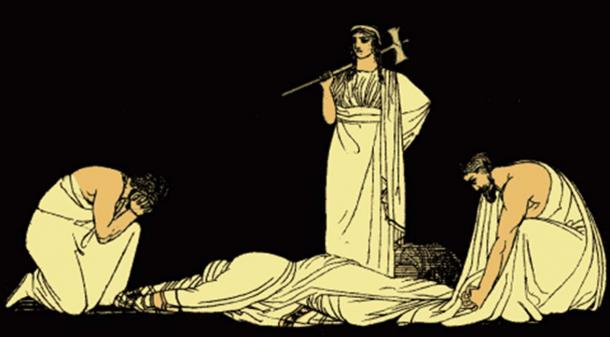 The Murder Of Agamemnon from an 1879 illustration from Stories from the Greek Tragedians by Alfred Church
