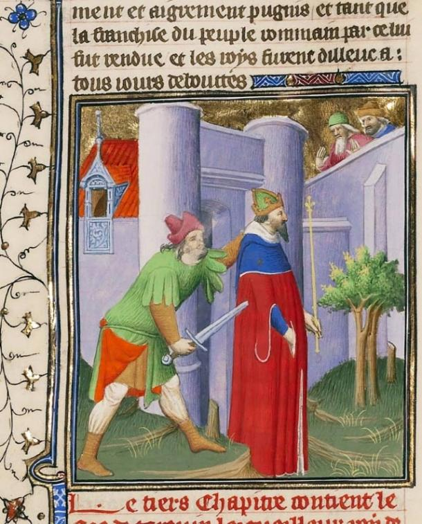 Detail, the Murder of King Servius by His Son-in-Law. Circa 1413 -1415.