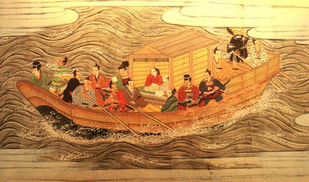A Muromachi ship with samurai; in the 1590s Hideyoshi ordered two invasions of Korea to gain access to China and India, where he hoped to build an empire