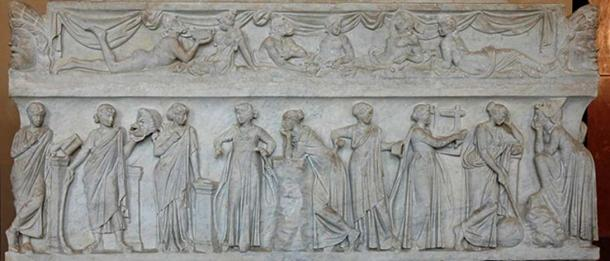 """Sarcophagus known as the """"Muses Sarcophagus"""", representing the nine Muses and their attributes. Marble, first half of the 2nd century AD, found by the Via Ostiense."""