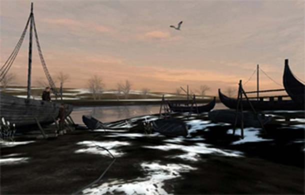 An image from the Museum of Yorkshire virtual reality experience showing Viking ships under repair.