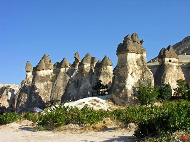 Mushroom rock formations in Turkey. The cone is constructed from limestone and volcanic ash, while the cap is of hard, more resistant rock such as lahar or ignimbrite