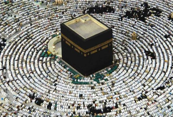 Muslims praying around the Ka'aba in Mecca, Saudi Arabia