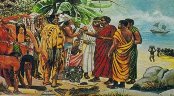 Muslims (some say including Mansa Abu Bakar II) meet with Native Americans.