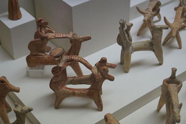 Mycenaean figurines from Agios Konstantinos, Methana. (14-13th century BC) Archaeological Museum of Piraeus, Greece.