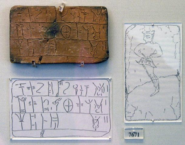 Mycenaean tablet (MY Oe 106) inscripted in linear B coming from the House of the Oil Merchant. The tablet registers an amount of wool which is to be dyed. Male figure is portrayed on the reverse. National Archaeological Museum of Athens, n. 7671.