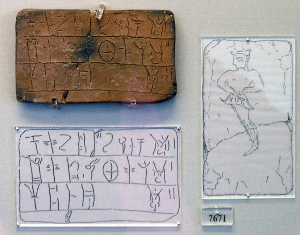 Mycenaean tablet inscribed in linear B coming from the House of the Oil Merchant, Mycenae. The tablet registers an amount of wool which is to be dyed. Male figure is portrayed on the reverse.