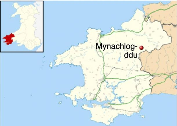 Mynachlog-ddu location within Pembrokeshire, where the bluestone was stolen
