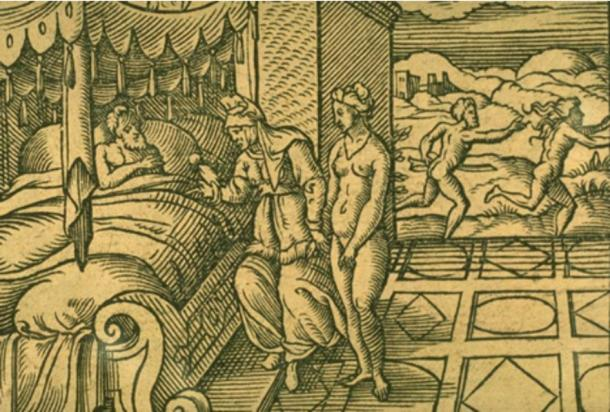 Myrrha and Cinyras. Engraving by Virgil Solis for Ovid's Metamorphoses Book X, 298-475.