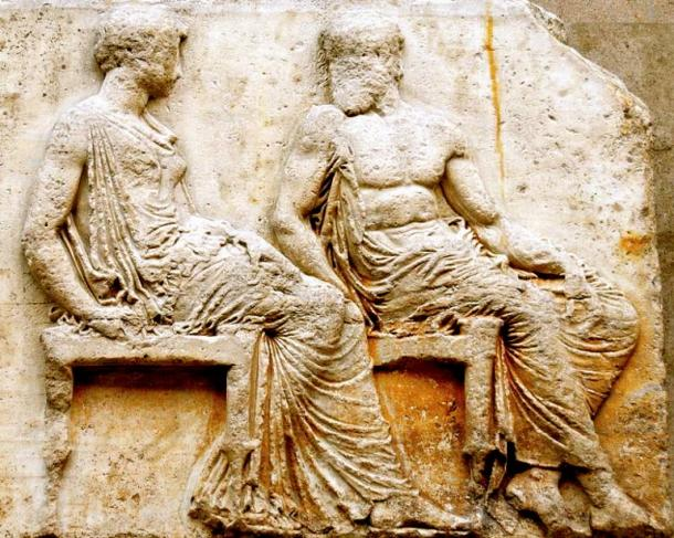 From about 430 BC, Naamah/Athena and Cain/Hephaistos are depicted chatting amiably on the east frieze of the Parthenon in Athens.