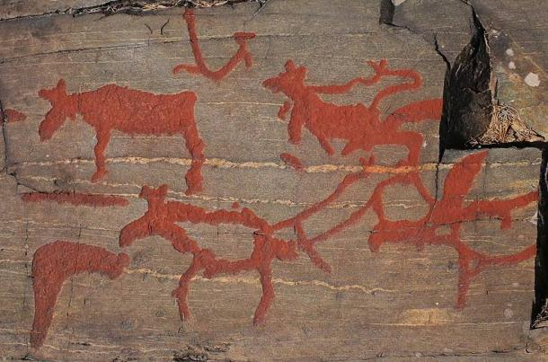 Close-up of Nanforsens rock painting, Naesaaker Sweden