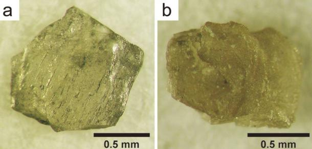 Nanodiamond aggregates from the Popigai crater, Siberia, Russia. a) is composed purely of diamond. b) is composed of a mixture of diamond and small amount of lonsdaleite