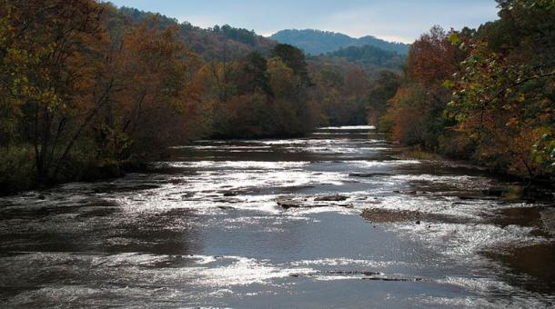 Nantahala River close to where it flows into the Little Tennessee River, where Tsali lived with his family