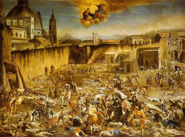 A painting by Domenico Gargiulo of Naples depicts a wave of disease that ravaged the city in the mid-1500s. (The Conversation)