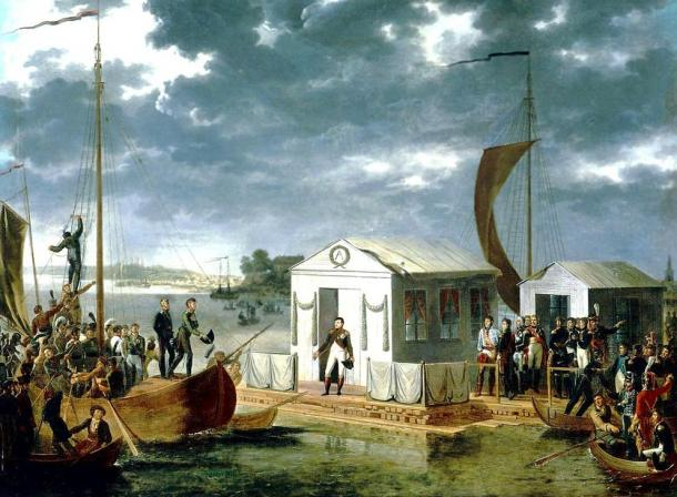 Napoleon meeting with Alexander I of Russia on a raft in the middle of the Neman River