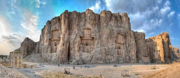 Panoramic view of the Naqsh-e Rustam. In Persia, (Iran). This site contains the tombs of four Achaemenid kings, including that of Darius I. Photo by: Amir Hussain Zolfaghary, 2010.