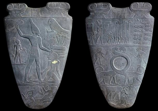 The Narmer Palette that shows the giant king defeating his enemies. c.3100 BC.