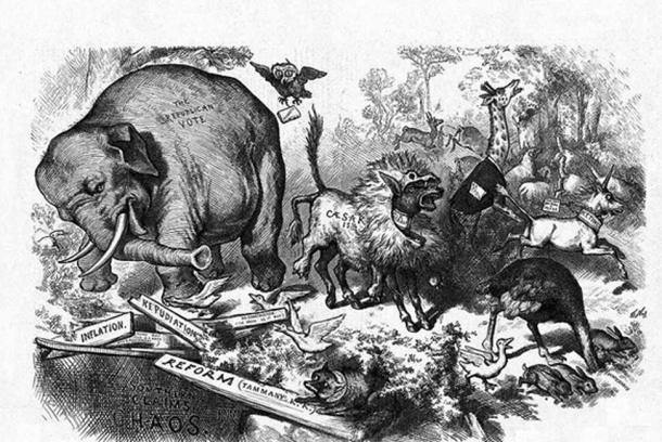 1874 Nast cartoon featuring the first notable appearance of the Republican elephant