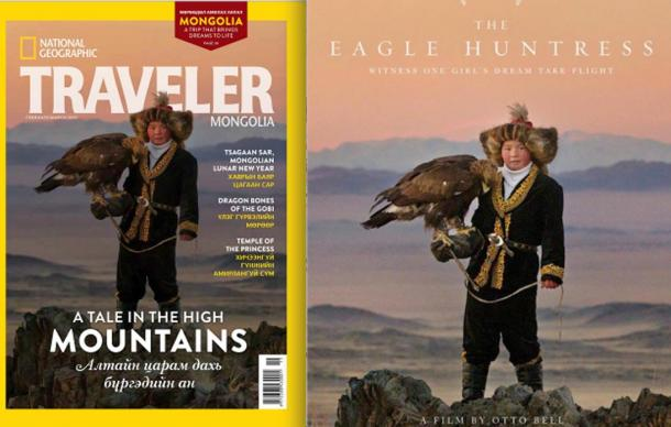 """FIG 2.6. Aisholpan, National Geographic 2014, and Otto Bell's """"The Eagle Huntress"""" Sundance poster 2016"""