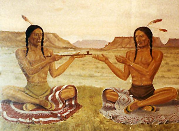 Native American Peace Pipe Painting Camp Douglas. (CC BY-NC-ND 2.0)