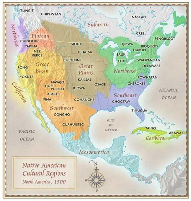 Native American indigenous cultures map by Paul Mirocha.