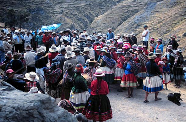 Native bridge builders gather during the annual renewal of the last Inca grass-rope bridge.