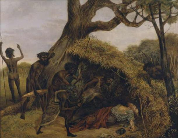 'Natives discovering the body of William John Wills, the explorer, at Coopers Creek, June 1861' (1862) by Eugene Montagu Scott. (Public Domain)