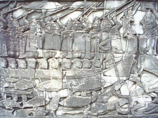 Naval battle of Champa warriors in a boat and dead Khmer fighters in the water, bas-relief, Bayon, Angkor, Cambodia