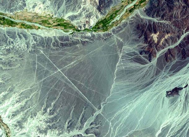The Nazca Lines are located in the Pampa region of Peru. This ASTER sub-image covers an area of 14 x 18 km, was acquired on December 22, 2000. Image Credit:,